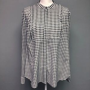 . Crew B&W Gingham Button Down Long Sleeve Blouse